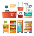 supermarket interior design element set vector image