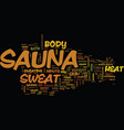 the minute sauna therapy text background word vector image vector image