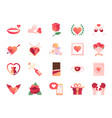 valentine day colors icon set vector image