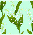 white lily of the valley on green mint background vector image vector image
