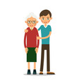 young boy helps an old woman vector image