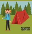 young man in the camping zone vector image
