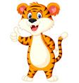 Cute tiger cartoon thumb up vector image