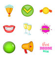 achieve icons set cartoon style vector image