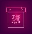 april neon calendar easter calendar neon vector image vector image