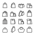 bag icon set in thin line style vector image vector image