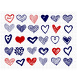 ballpoint pen drawing doodle hearts big vector image