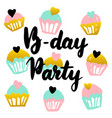 birthday party handwritten postcard vector image vector image