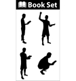 Book silhouette set vector image