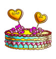 cake decorated hearts and creamy flower ink vector image vector image