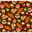 Cakes cupcakes and waffles seamless pattern vector image