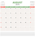 Calendar Planner 2016 Flat Design Template August vector image