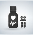 cardio heart pill bottle icon modern pill bottle vector image vector image