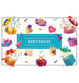 cartoon birthday party elements concept vector image