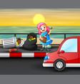 cartoon happy litttle girl cleaning road vector image vector image