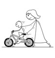 cartoon of mother and son learning to ride a bike vector image vector image