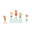 children standing on award places and kids jumping vector image vector image