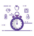 chronometer with fitness lifestyle set icons vector image vector image