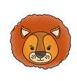 color crayon silhouette caricature face lion cute vector image