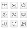 contact buttons set - mobile icons vector image