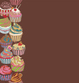 Cupcake pattern border vector image vector image