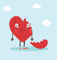 cute single heart character with broken heart vector image vector image
