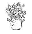 doodle cartoon watering can with flowers vector image vector image