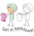 doodle girl in bathtowel vector image vector image