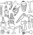 drawn working tools vector image vector image