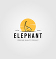 elephant line art with sun on background vector image
