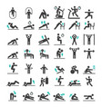 fitness exercise workout icons set vector image