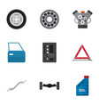 flat icon workshop set of coupler motor vector image vector image
