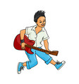 flat man playing rock electric guitar music vector image vector image