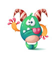 funny cute crazy monster character hello vector image