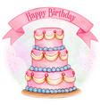 giant pink watercolor birthday cake vector image vector image