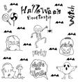 Halloween skull bat zombie tomb in doodle vector image vector image