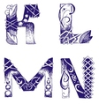 hand-drawn letters K L M N vector image vector image