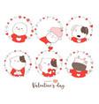 happy valentines day with cute animal cartoon vector image vector image