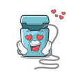 in love dental floss in a mascot box vector image