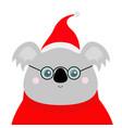koala face head red santa hat sweater glasses vector image
