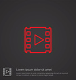 media outline symbol red on dark background logo vector image