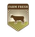 nature fields retro farm label organic food vector image
