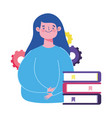 online education teacher woman character stacked vector image