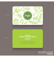 organic foods shop or vegan cafe business card vector image vector image