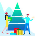 people with presents and gifts near christmas tree vector image vector image