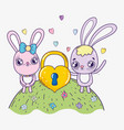 rabbit couple with padlock to valentine day vector image vector image