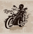racer on motorcycle in grunge vector image vector image
