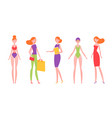 red-haired woman in different styles of clothes vector image vector image