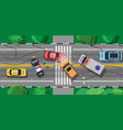 road accident between two cars on crossroad vector image