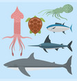 sea animals creatures characters cartoon vector image